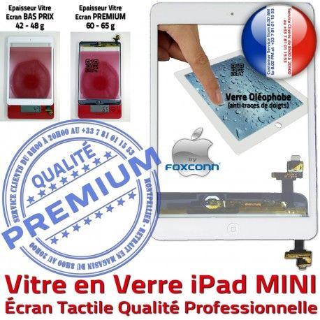 iPad Mini1 A1432 A1454 A1455 B Bouton Vitre Monté Blanc 1 MINI Tactile Nappe Tablette Verre Réparation Caméra Fixation Adhésif Ecran Oléophobe Filtre Home
