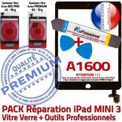 Tablette Noire Precollé PACK Mini PREMIUM Verre Tactile N Outils Vitre 3 Attention A1600 Adhésif Réparation iPad ID Qualité MINI KIT Touch