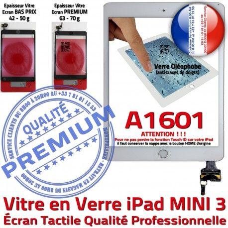 iPad Mini3 A1601 Blanc PREMIUM Nappe Ecran Vitre Tablette Adhésif Bouton Filtre Réparation Verre Oléophobe Tactile Caméra Fixation