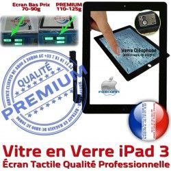 Remplacement A1416 Nappe Noir HOME 3 Verre A1403 A1430 Caméra Precollé PREMIUM Qualité iPad Ecran iPad3 PN Vitre Apple Adhésif Bouton Tactile Fixation Oléophobe