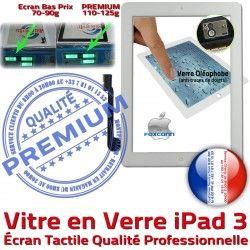 iPad3 PB Tactile Blanc HOME 3 Adhésif Vitre Bouton Nappe Qualité Fixation Apple PREMIUM Caméra A1416 A1403 Remplacement Oléophobe Verre Precollé A1430 Ecran iPad
