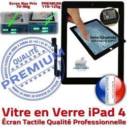 Ecran Apple Adhésif 4 iPad4 A1459 Oléophobe iPad HOME Remplacement Noir PN Tactile Caméra Qualité A1458 Verre Vitre Fixation Precollé A1460 PREMIUM Bouton