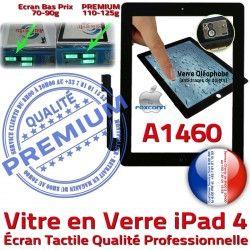 Oléophobe Vitre Noir Fixation iPad Caméra Remplacement iPad4 Ecran HOME Bouton 4 Adhésif Qualité Verre A1460 Tactile PREMIUM Apple Precollé