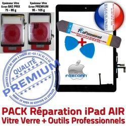 HOME Vitre N Outil Verre Adhésif iPad Nappe Réparation KIT AIR 5 Oléophobe Tactile Noire PACK Precollé PREMIUM Qualité Démontage Bouton