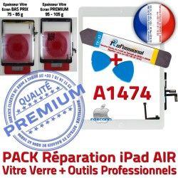 PACK AIR Tactile Blanche Precollé Qualité PREMIUM Verre Nappe Adhésif A1474 Bouton Oléophobe HOME Vitre KIT Outils iPad Réparation B