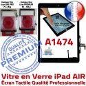 iPad AIR A1474 Noir Tablette Caméra Monté Ecran Adhésif IC Oléophobe HOME Nappe Fixation Qualité Tactile Réparation Verre Vitre