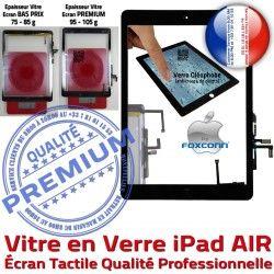 Vitre Verre Bouton A1475 PREMIUM Oléophobe Caméra Noir Adhésif iPad Ecran Remplacement HOME Precollé A1476 Tactile AIR A1474 Fixation A++ iPadAIR Qualité