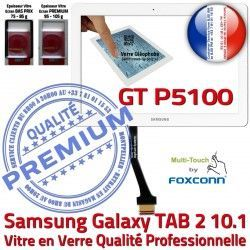 Galaxy 10.1 Verre Prémonté TAB B LCD GT Ecran PREMIUM GT-P5100 P5100 TAB2 Qualité Blanche Assemblée Tactile Samsung Vitre 2 en Supérieure Adhésif