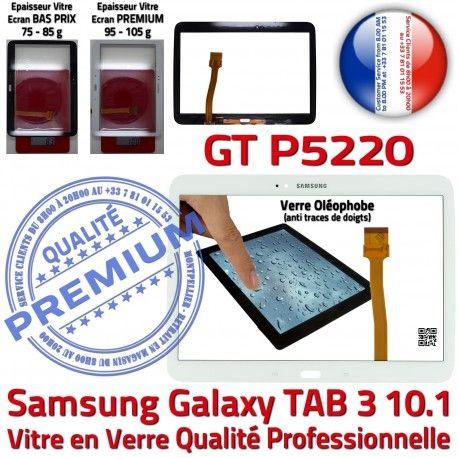 Samsung Galaxy TAB 3 GT-P5220 B PREMIUM 10.1 Assemblée Tactile en Adhésif Supérieure Blanche Vitre Ecran P5220 Verre LCD Qualité GT TAB3 Prémonté