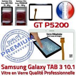Supérieure Adhésif LCD PREMIUM Vitre TAB TAB3 Prémonté 3 Samsung P5200 Tactile 10.1 B Qualité Blanche en GT Verre GT-P5200 Ecran Assemblée Galaxy