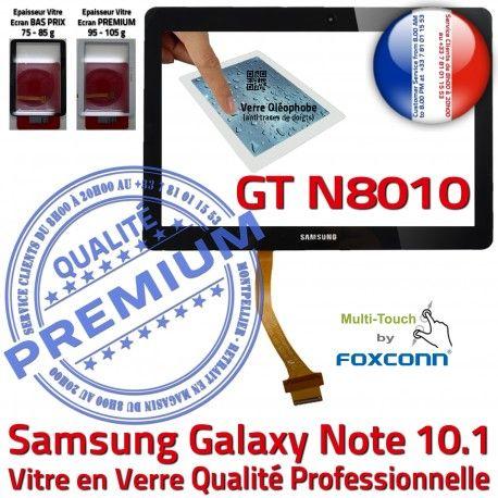 Samsung Galaxy NOTE GT-N8010 N GT PREMIUM Prémonté Supérieure Verre N8010 Assemblée en LCD Noire 10.1 Qualité Ecran Tactile Adhésif Vitre