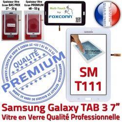 PREMIUM TAB3 Samsung Prémonté Blanche Qualité Vitre Adhésif Ecran Supérieure en B SM-T111 Verre Galaxy Assemblée 7 Tactile LCD Tab3
