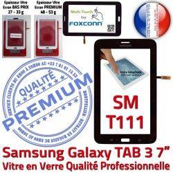 Prémonté Verre Samsung PREMIUM Qualité LCD 3 Vitre TAB3 Assemblée 7 Adhésif Ecran SM-T111 T111 Galaxy TAB SM N Tactile Noire en Supérieure