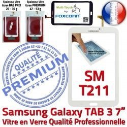 PREMIUM Adhésif TAB SM-T211 Tactile SM T211 Samsung 7 TAB3 3 Assemblée Supérieure Verre en Blanche Galaxy Vitre Qualité Ecran LCD B Prémonté