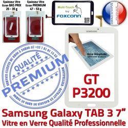 Assemblée Adhésif LCD TAB3 Galaxy GT PREMIUM Qualité Supérieure Prémonté P3200 Tab3 B Vitre Ecran 7 en GT-P3200 Samsung Verre Tactile Blanche