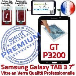 Samsung TAB3 GT-P3200 Supérieure Assemblée Verre Galaxy 7 Tactile 3 N LCD Qualité Noire Adhésif PREMIUM TAB Prémonté Vitre Ecran en