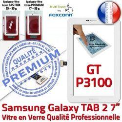 Prémonté LCD 2 7 Tactile Supérieure Assemblée Adhésif en Samsung P3100 B Qualité TAB Vitre PREMIUM Galaxy GT-P3100 Verre TAB2 Blanche Ecran GT