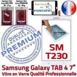 SM-T230 7 Samsung Adhésif Prémonté Qualité Supérieure inch B Verre PREMIUM Tactile TAB4 LCD Vitre Ecran Galaxy Blanche Assemblée