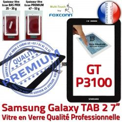 Supérieure 7 Samsung Vitre Assemblée PREMIUM P3100 TAB GT-P3100 Prémonté Noir Adhésif inch TAB2 2 LCD Qualité Tactile Galaxy Noire Ecran GT Verre