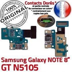 Qualité OFFICIELLE de Micro Nappe Chargeur GT-N5105 Connecteur MicroUSB Doré ORIGINAL Galaxy Contact Samsung Charge USB N5105 NOTE Réparation GT