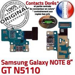 Connecteur OFFICIELLE GT-N5110 Charge GT MicroUSB Qualité Galaxy de NOTE N5110 Contact Doré C Chargeur Nappe Samsung ORIGINAL Réparation