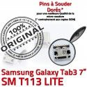 Samsung Galaxy Tab3 SM-T113 USB Connector Pins charge Fiche Dorés Chargeur souder SLOT Qualité TAB3 Dock Prise ORIGINAL à MicroUSB de