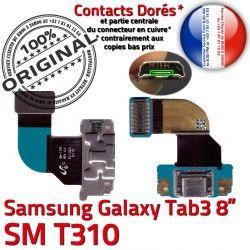 Contacts ORIGINAL SM-T310 Ch Galaxy Réparation Qualité Samsung OFFICIELLE Dorés Charge 3 Nappe TAB de MicroUSB Chargeur Connecteur TAB3