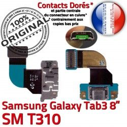 SM Samsung OFFICIELLE TAB Réparation SM-T310 Contacts Connecteur USB 3 TAB3 T310 Charge Micro Dorés Nappe MicroUSB Galaxy Qualité ORIGINAL Chargeur de