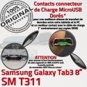 SM-T311 Micro USB TAB3 Charge Contacts Dorés Chargeur Connecteur SM Réparation Qualité Samsung 3 Galaxy MicroUSB Nappe OFFICIELLE ORIGINAL TAB T311 de