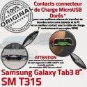 SM-T315 Micro USB TAB3 Charge SM Dorés OFFICIELLE Contacts Réparation 3 Samsung Chargeur Galaxy ORIGINAL Connecteur TAB T315 Nappe de Qualité MicroUSB