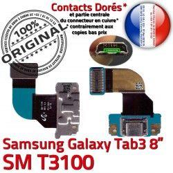 TAB3 ORIGINAL Réparation Charge Ch de Connecteur MicroUSB Chargeur Dorés OFFICIELLE 3 Nappe TAB Qualité Galaxy Samsung SM-T3100 Contacts