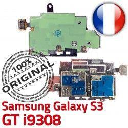 Qualité Connecteur Galaxy S i9308 Nappe S3 Connector Micro-SD Reader Contacts Dorés Memoire SIM ORIGINAL Samsung Lecteur Carte GT