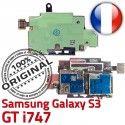 Samsung Galaxy S3 GT i747 S Memoire Dorés Qualité Reader Nappe SIM Connector Carte Micro-SD Lecteur ORIGINAL Contacts Connecteur