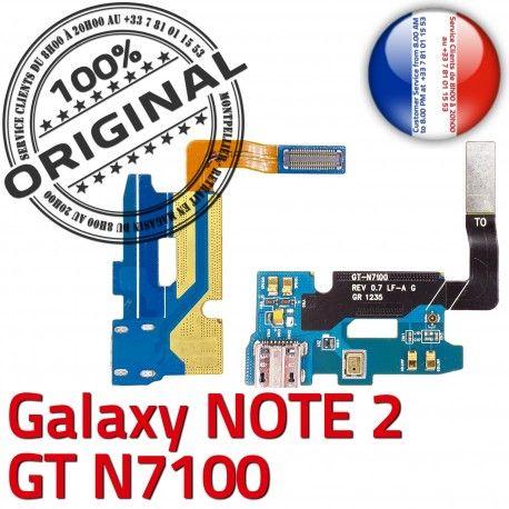 Samsung Galaxy NOTE2 GT N7100 C RESEAU Microphone Prise OFFICIELLE Qualité Nappe MicroUSB Antenne Chargeur Connecteur Charge ORIGINAL