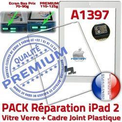 Réparation Adhésif Verre Tactile Joint Ecran 2 Tablette iPad2 PREMIUM iPad A1397 B Vitre Bouton Precollé PACK Cadre Apple HOME Blanche
