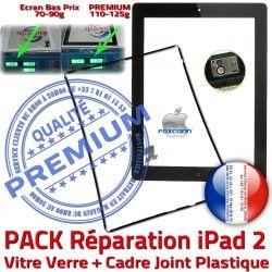Chassis Tablette Adhésif Tactile iPad Verre PACK 2 Cadre PREMIUM Réparation Apple N HOME Joint KIT iPad2 Precollé Vitre Noire Bouton Contour