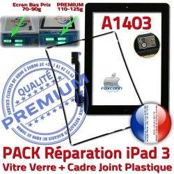 Noire Vitre PREMIUM PACK Verre Precollé iPad iPad3 Chassis HOME N Réparation Apple Bouton Tactile Adhésif 3 Cadre Joint A1403 KIT Tablette