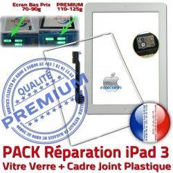 Bouton Tactile iPad3 Contour Verre PREMIUM KIT PACK Adhésif Precollée Blanche Apple B Réparation HOME Cadre Vitre Tablette Joint