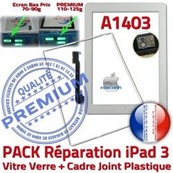 A1403 iPad3 HOME Tablette Vitre Réparation Blanche PREMIUM B PACK Verre Joint iPad 3 Precollée Tactile Contour Apple Cadre Adhésif Bouton