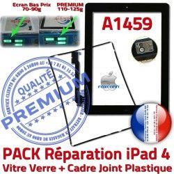 Tactile iPad4 PREMIUM iPad Réparation PACK Precollé KIT Joint Tablette Chassis A1459 Bouton Vitre HOME Noire Apple 4 Adhésif Verre Cadre N