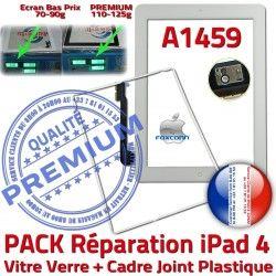 4 Tablette Contour PREMIUM iPad4 Réparation A1459 PACK Apple B HOME Bouton Adhésif Verre Blanche Precollée Cadre Joint iPad Vitre Tactile