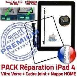 Vitre PREMIUM Precollé iPad4 Apple Cadre HOME Plastique Noire PACK Joint Bouton Réparation KIT 4 Tablette Nappe iPad Tactile N Adhésif Verre