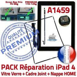 Adhésif Tablette Vitre N Joint Tactile Verre A1459 Contour Réparation iPad4 Precollé Plastique Apple PACK KIT Bouton Nappe Noire HOME Cadre