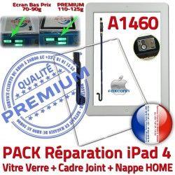 Plastique Verre Réparation Cadre B KIT Tactile Tablette iPad4 PACK HOME Contour Apple Adhésif Nappe A1460 Blanche Bouton Joint Precollé Vitre
