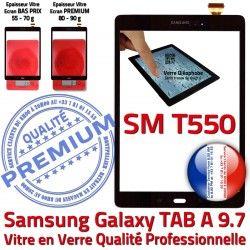 Qualité 9.7 T550 Ecran Prémonté Vitre SM-T550 Samsung Supérieure Tactile TAB SM Assemblée PREMIUM Adhésif Galaxy TAB-A Noir Verre A Noire N