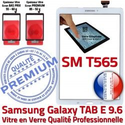 Assemblée B Adhésif Assemblé Galaxy Verre Samsung Ecran SM Vitre T565 Supérieure SM-T565 PREMIUM Blanche 9.6 Tactile Qualité TAB-E Blanc