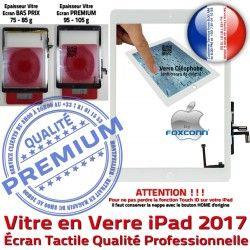 Nappe Blanc Monté Réparation AIR inch Caméra HOME Tactile 2017 Oléophobe Qualité Verre Ecran Tablette iPad Adhésif Bouton Vitre Fixation 9.7