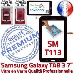 LITE TAB3 LCD Adhésif SM-T113 Vitre PREMIUM Prémonté Verre Qualité Assemblée Samsung 7 SM Noire Ecran T113 Tactile Galaxy en Supérieure Noir