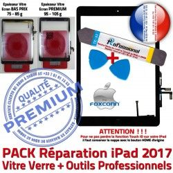 PACK Adhésif Precollé iPad 9.7 Nappe 2017 Qualité inch Vitre Noire Bouton Démontage Tactile HOME N PREMIUM Oléophobe Réparation Outil KIT Verre