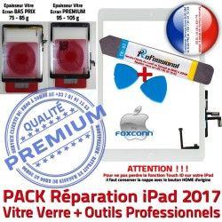 9.7 iLAME PACK HOME Oléophobe Bouton Blanche Réparation B Tactile Adhésif Precollé PREMIUM Outils iPad 2017 Vitre Qualité Verre KIT Nappe inch